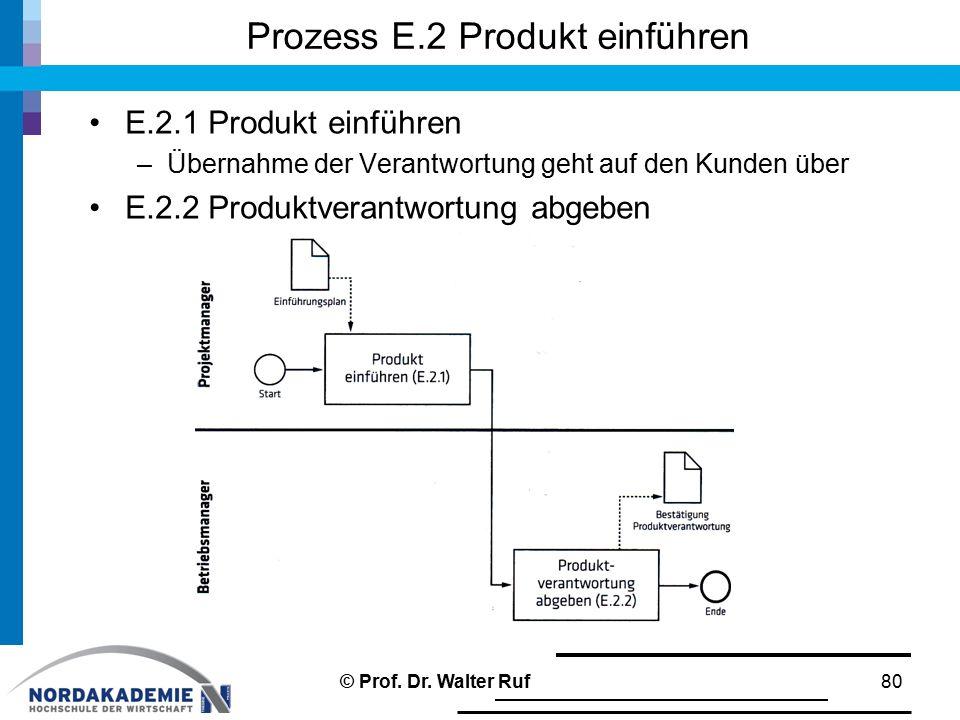 Prozess E.2 Produkt einführen E.2.1 Produkt einführen –Übernahme der Verantwortung geht auf den Kunden über E.2.2 Produktverantwortung abgeben © Prof.