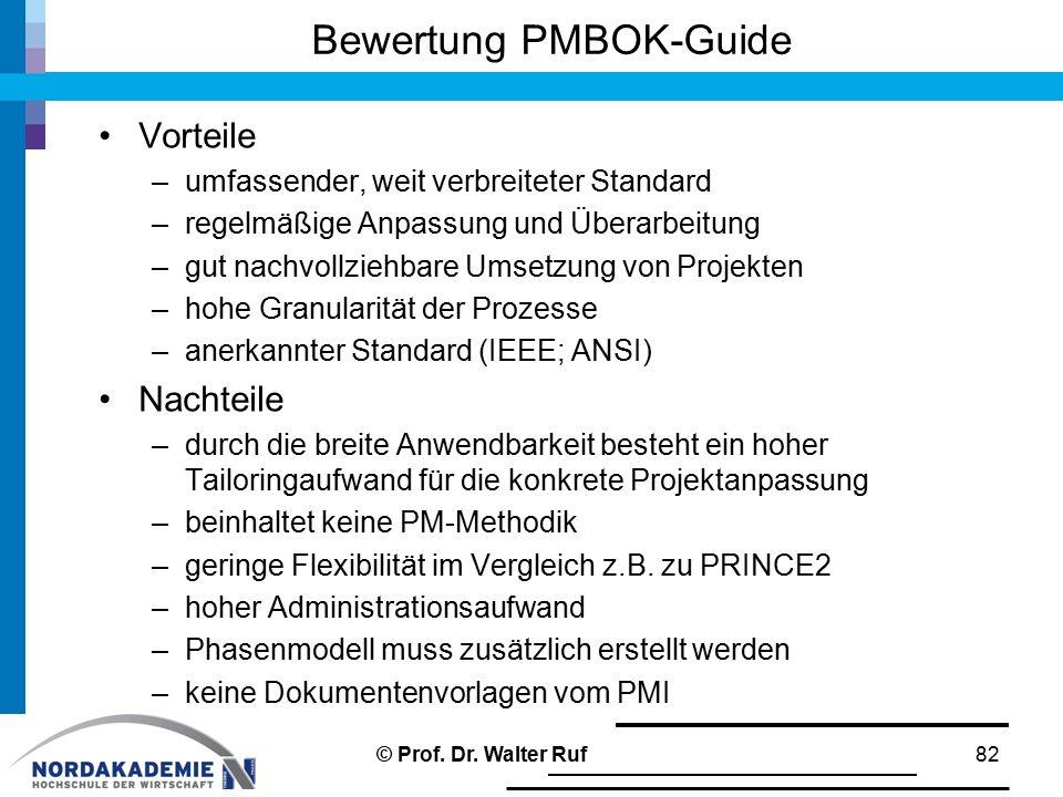 Bewertung PMBOK-Guide Vorteile –umfassender, weit verbreiteter Standard –regelmäßige Anpassung und Überarbeitung –gut nachvollziehbare Umsetzung von Projekten –hohe Granularität der Prozesse –anerkannter Standard (IEEE; ANSI) Nachteile –durch die breite Anwendbarkeit besteht ein hoher Tailoringaufwand für die konkrete Projektanpassung –beinhaltet keine PM-Methodik –geringe Flexibilität im Vergleich z.B.