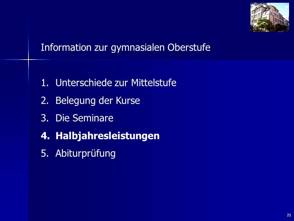 21 Information zur gymnasialen Oberstufe 1. 1.Unterschiede zur Mittelstufe 2.