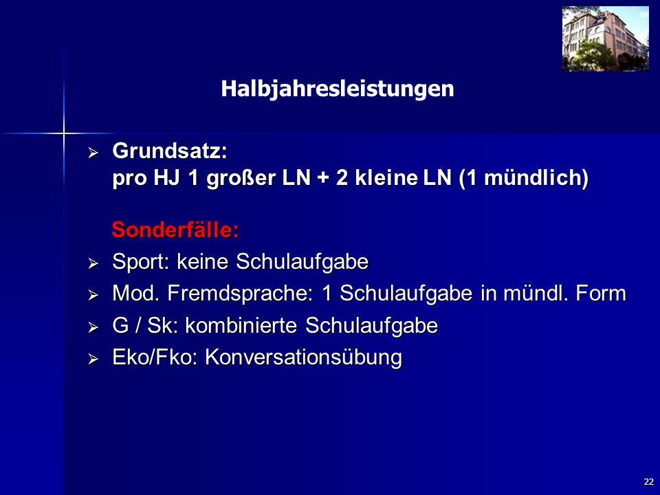 22 Halbjahresleistungen  Grundsatz: pro HJ 1 großer LN + 2 kleine LN (1 mündlich) Sonderfälle: Sonderfälle:  Sport: keine Schulaufgabe  Mod.