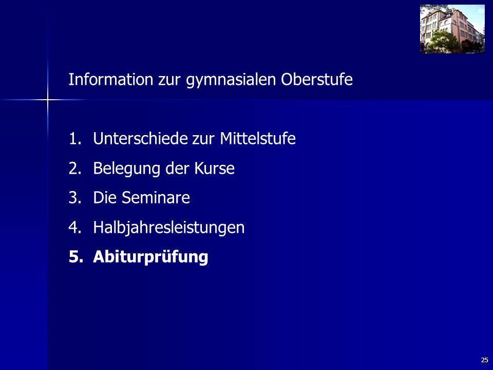 25 Information zur gymnasialen Oberstufe 1. 1.Unterschiede zur Mittelstufe 2.