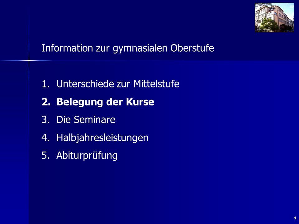 4 Information zur gymnasialen Oberstufe 1. 1.Unterschiede zur Mittelstufe 2.