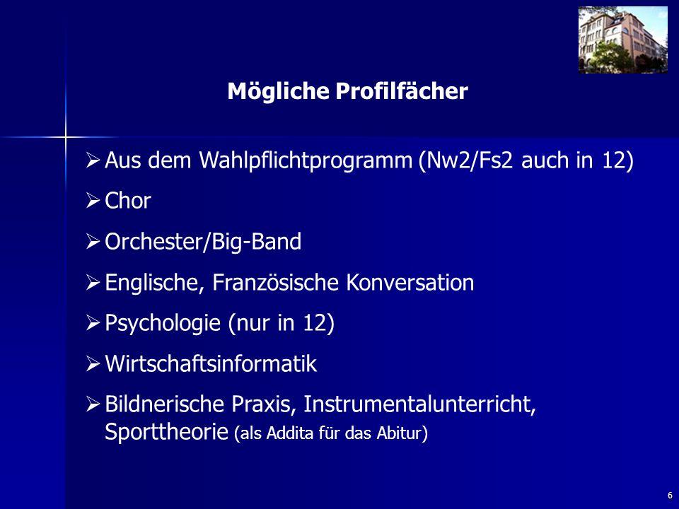 6 Mögliche Profilfächer   Aus dem Wahlpflichtprogramm (Nw2/Fs2 auch in 12)   Chor   Orchester/Big-Band   Englische, Französische Konversation   Psychologie (nur in 12)   Wirtschaftsinformatik   Bildnerische Praxis, Instrumentalunterricht, Sporttheorie (als Addita für das Abitur)
