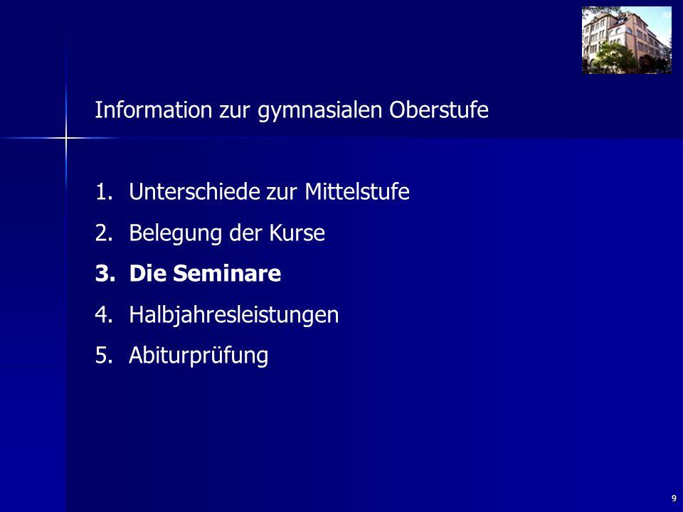9 Information zur gymnasialen Oberstufe 1. 1.Unterschiede zur Mittelstufe 2.