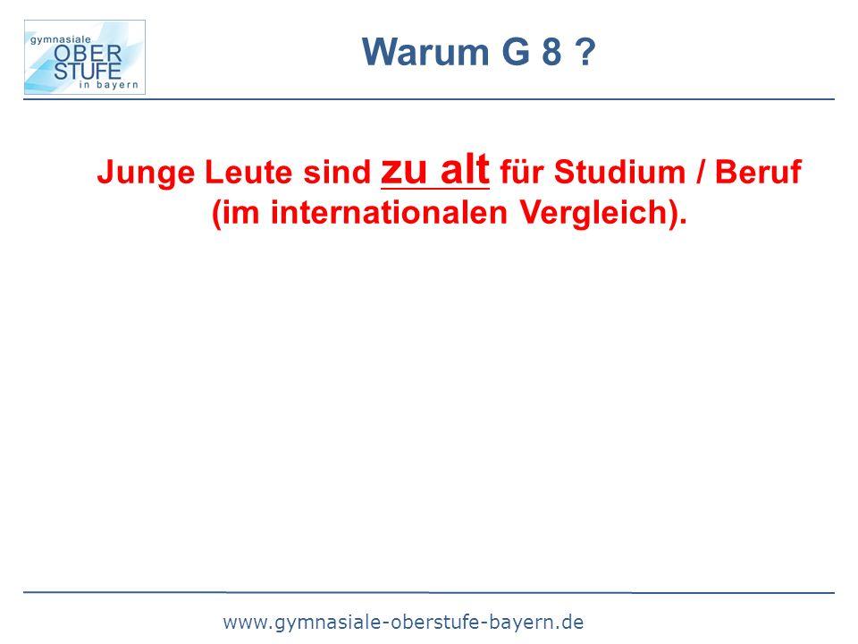 www.gymnasiale-oberstufe-bayern.de Warum G 8 ? Junge Leute sind zu alt für Studium / Beruf (im internationalen Vergleich).