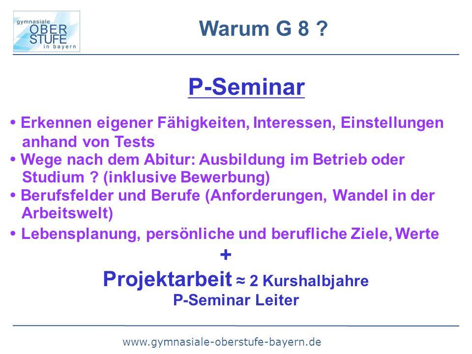 www.gymnasiale-oberstufe-bayern.de Warum G 8 ? P-Seminar  Erkennen eigener Fähigkeiten, Interessen, Einstellungen anhand von Tests  Wege nach dem Ab