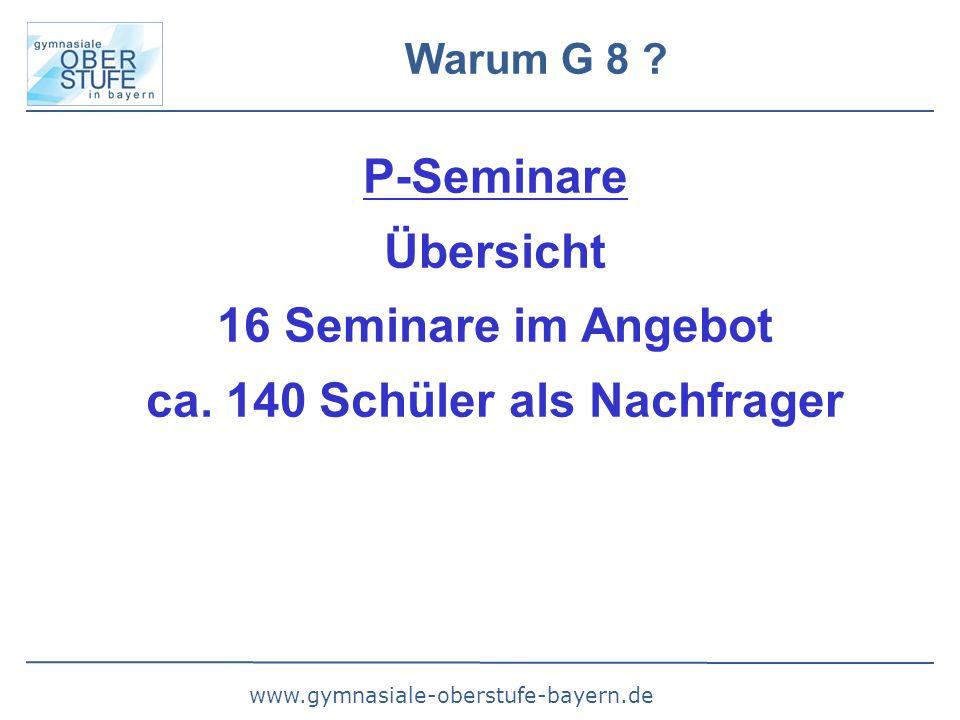 www.gymnasiale-oberstufe-bayern.de Warum G 8 ? P-Seminare Übersicht 16 Seminare im Angebot ca. 140 Schüler als Nachfrager