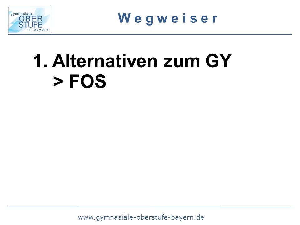 www.gymnasiale-oberstufe-bayern.de W e g w e i s e r 1. Alternativen zum GY > FOS