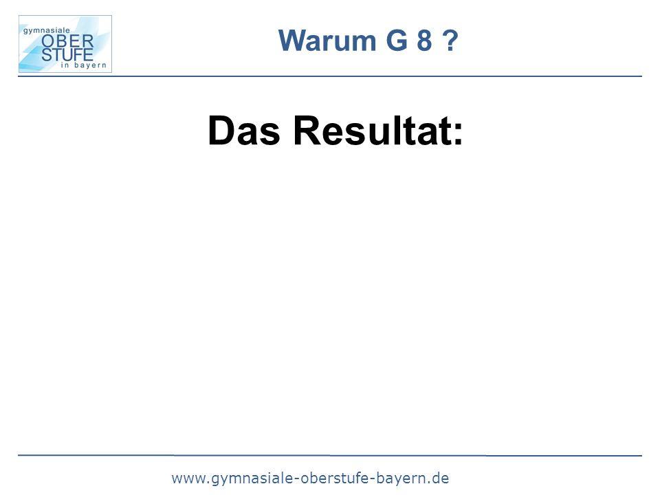 www.gymnasiale-oberstufe-bayern.de Warum G 8 ? Das Resultat: