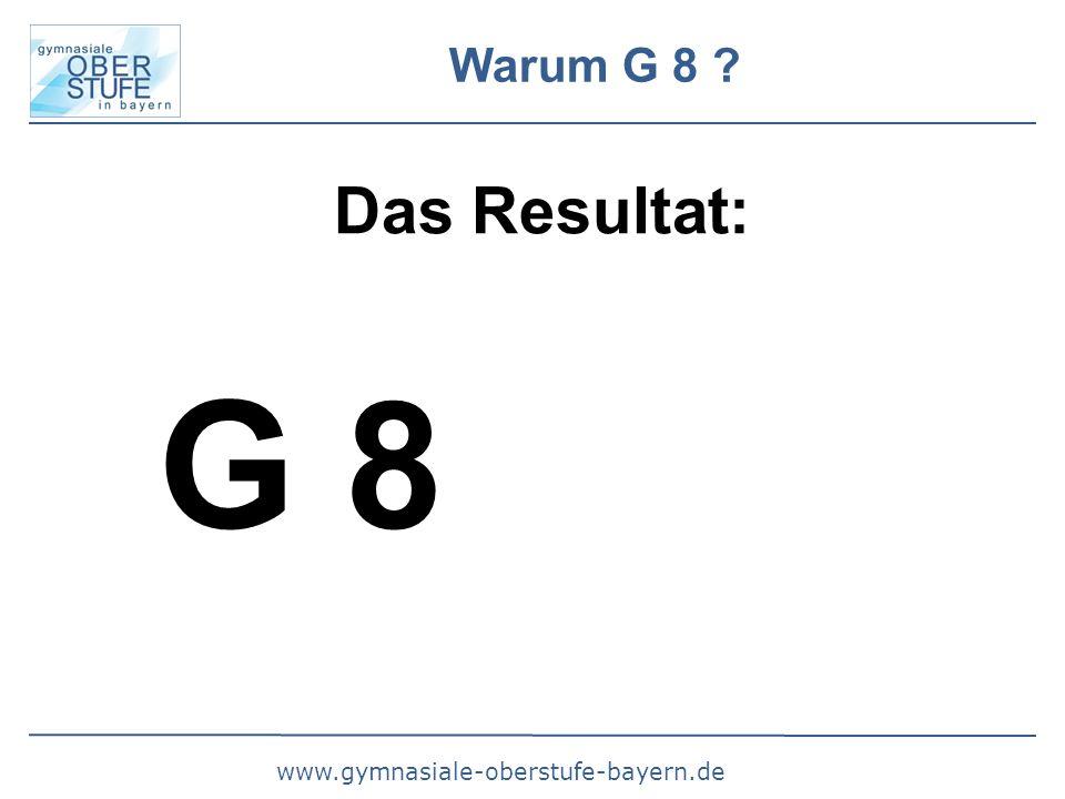 www.gymnasiale-oberstufe-bayern.de Warum G 8 Das Resultat: G 8