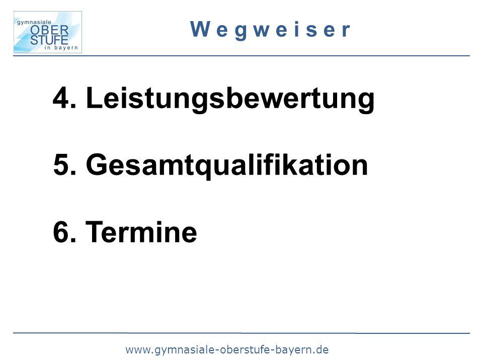 www.gymnasiale-oberstufe-bayern.de W e g w e i s e r 4. Leistungsbewertung 5. Gesamtqualifikation 6. Termine