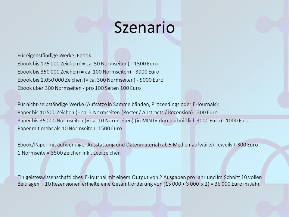 Szenario Für eigenständige Werke: Ebook Ebook bis 175 000 Zeichen ( = ca. 50 Normseiten) - 1500 Euro Ebook bis 350 000 Zeichen (= ca. 100 Normseiten)