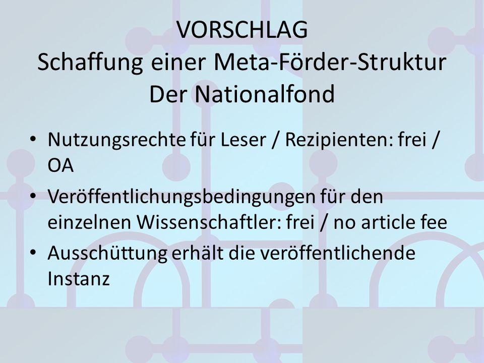 VORSCHLAG Schaffung einer Meta-Förder-Struktur Der Nationalfond Nutzungsrechte für Leser / Rezipienten: frei / OA Veröffentlichungsbedingungen für den