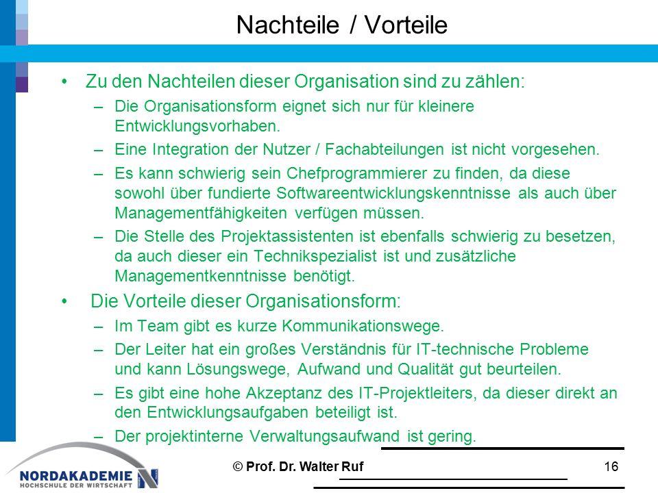 Nachteile / Vorteile Zu den Nachteilen dieser Organisation sind zu zählen: –Die Organisationsform eignet sich nur für kleinere Entwicklungsvorhaben. –