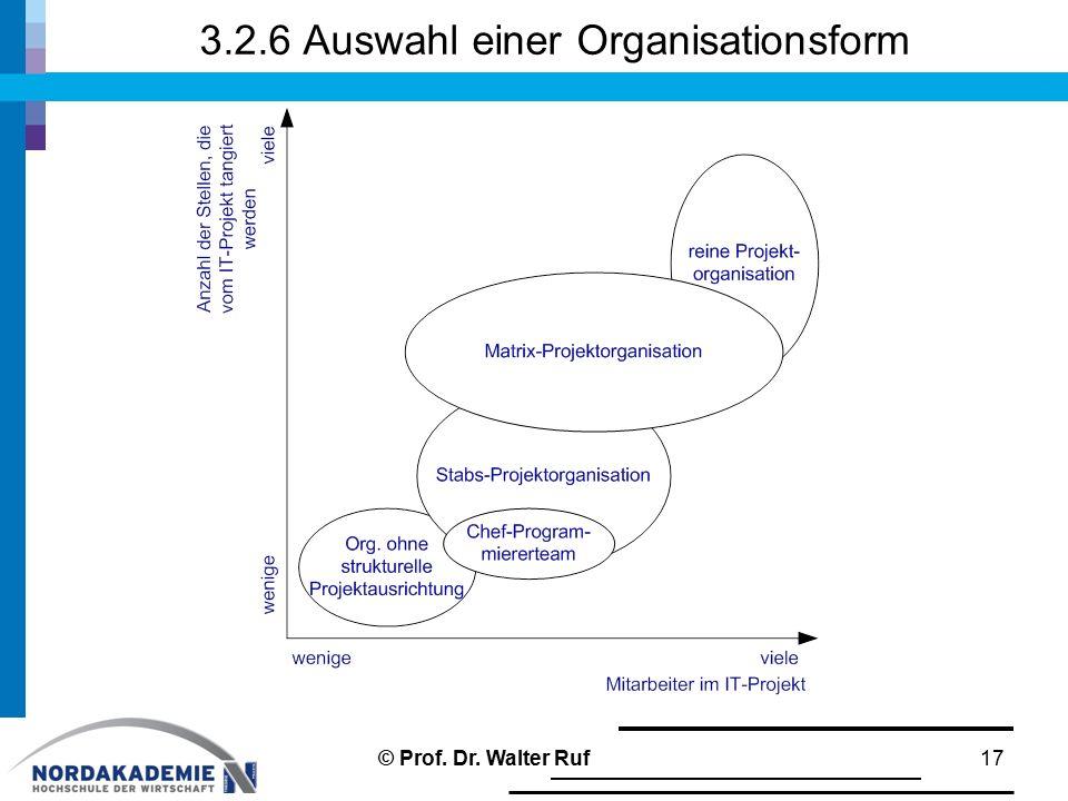 3.2.6 Auswahl einer Organisationsform 17© Prof. Dr. Walter Ruf