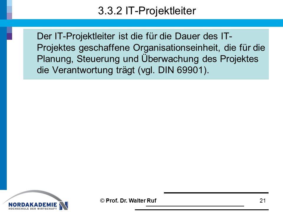 3.3.2 IT-Projektleiter Der IT-Projektleiter ist die für die Dauer des IT- Projektes geschaffene Organisationseinheit, die für die Planung, Steuerung u