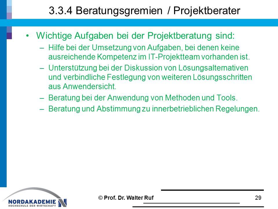 3.3.4 Beratungsgremien / Projektberater Wichtige Aufgaben bei der Projektberatung sind: –Hilfe bei der Umsetzung von Aufgaben, bei denen keine ausreic
