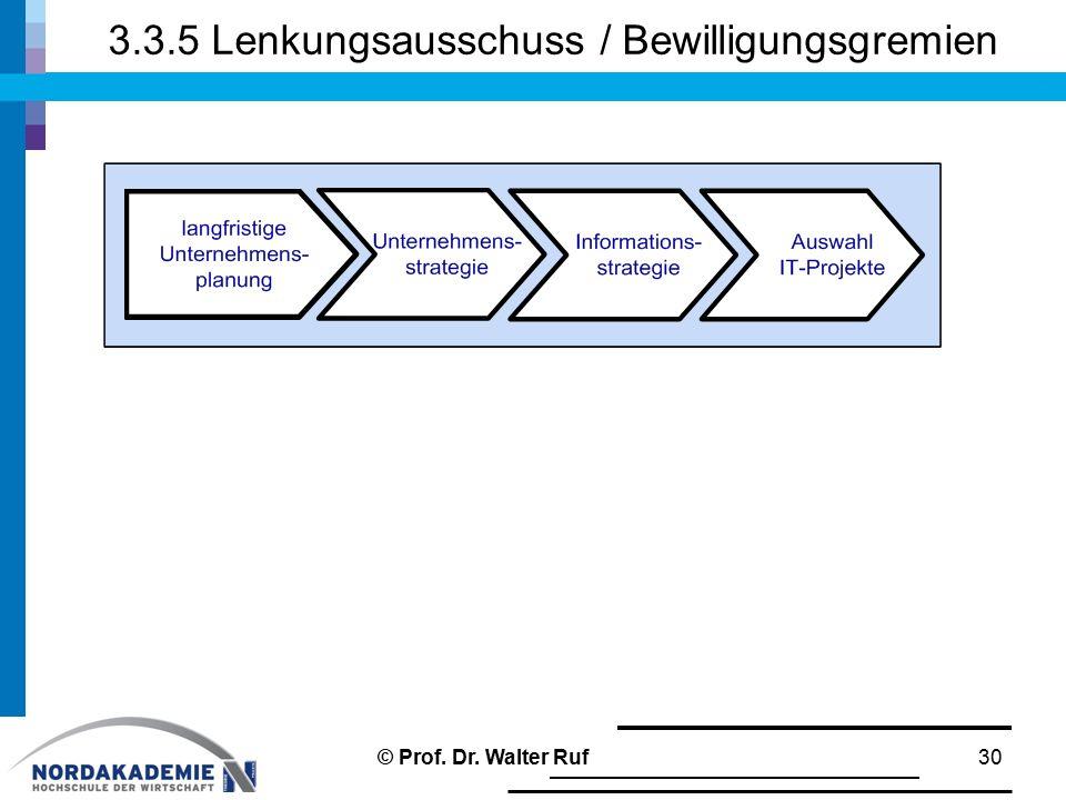 3.3.5 Lenkungsausschuss / Bewilligungsgremien 30© Prof. Dr. Walter Ruf