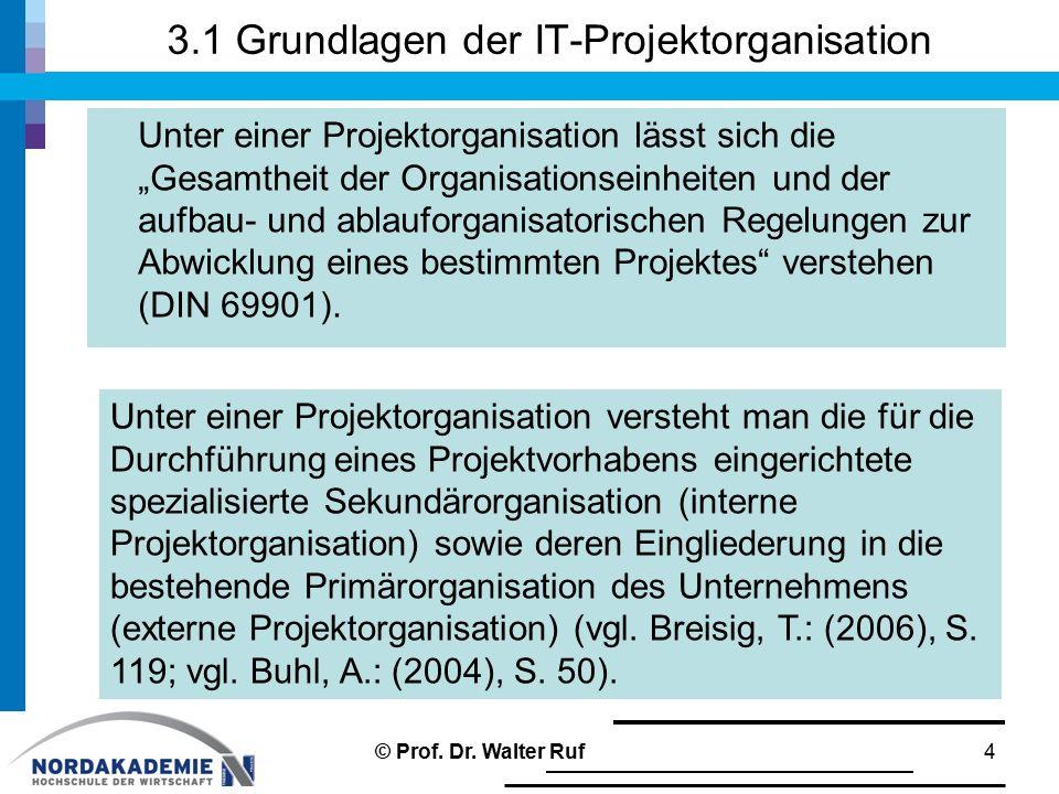 """3.1 Grundlagen der IT-Projektorganisation Unter einer Projektorganisation lässt sich die """"Gesamtheit der Organisationseinheiten und der aufbau- und ab"""