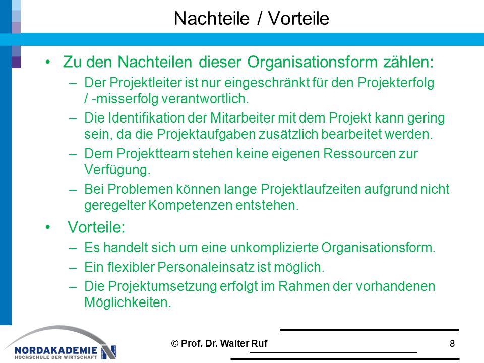 Nachteile / Vorteile Zu den Nachteilen dieser Organisationsform zählen: –Der Projektleiter ist nur eingeschränkt für den Projekterfolg / ‑ misserfolg