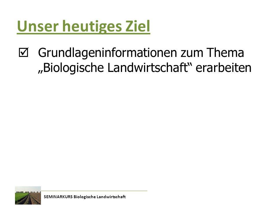 """Unser heutiges Ziel  Grundlageninformationen zum Thema """"Biologische Landwirtschaft erarbeiten"""