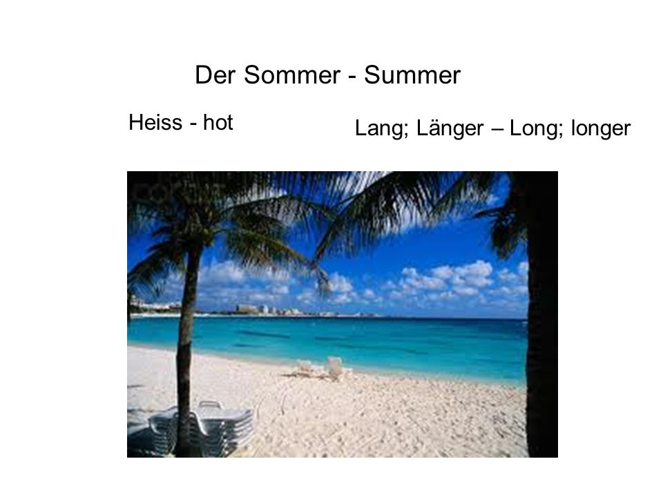 Der Sommer - Summer Heiss - hot Lang; Länger – Long; longer