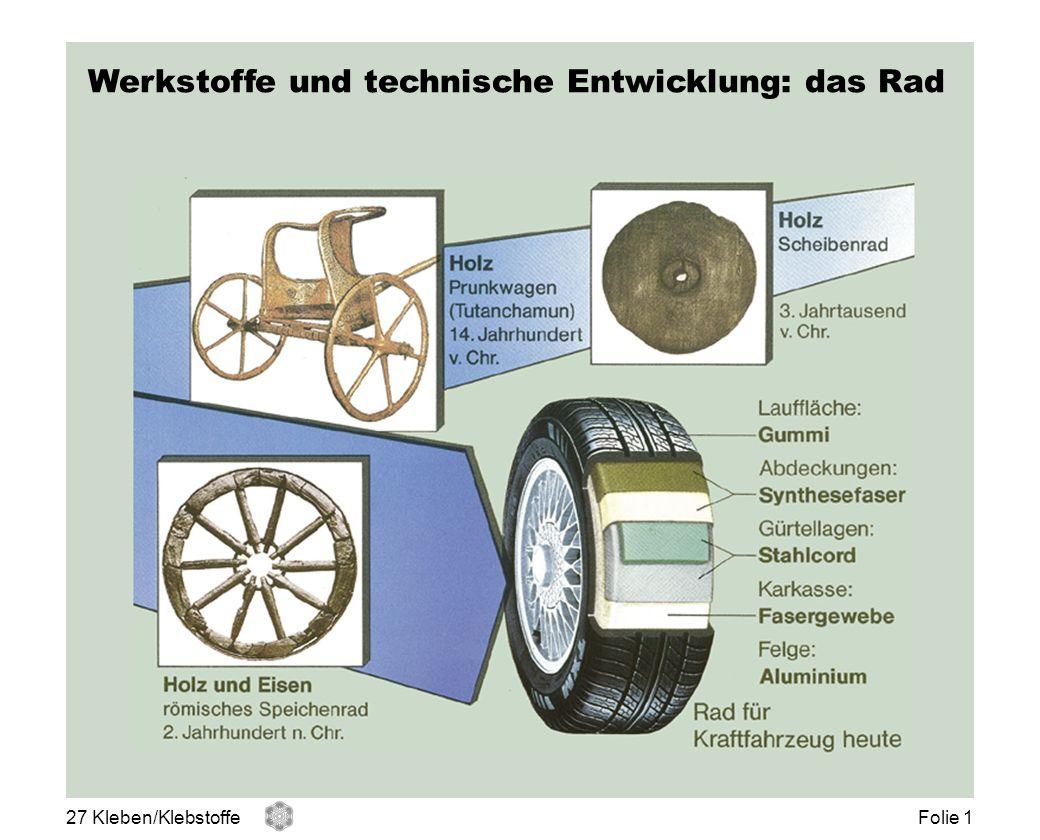 Werkstoffe und technische Entwicklung: das Rad 27 Kleben/KlebstoffeFolie 1