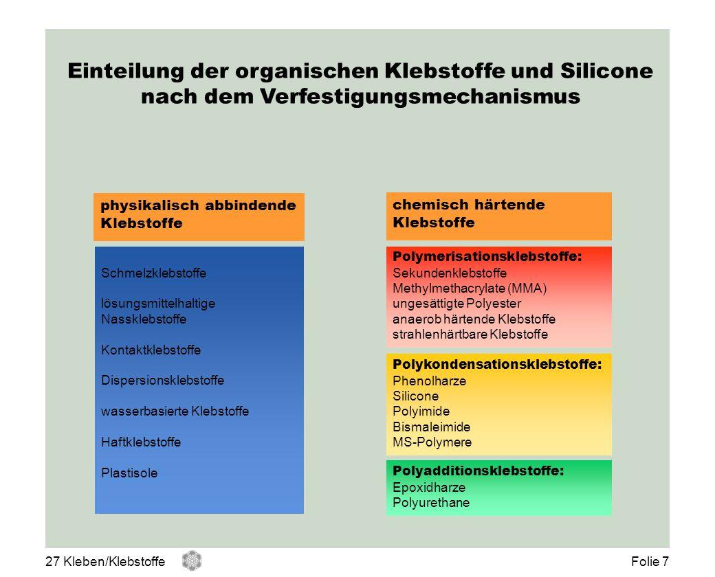 Einteilung der organischen Klebstoffe und Silicone nach dem Verfestigungsmechanismus physikalisch abbindende Klebstoffe chemisch härtende Klebstoffe S