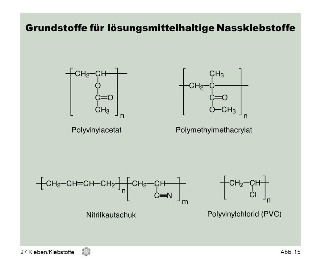 Grundstoffe für lösungsmittelhaltige Nassklebstoffe 27 Kleben/KlebstoffeAbb. 15