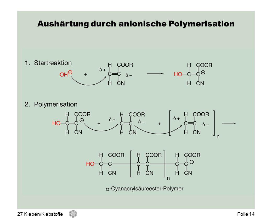 Aushärtung durch anionische Polymerisation 27 Kleben/KlebstoffeFolie 14