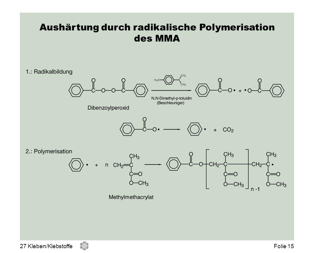 Aushärtung durch radikalische Polymerisation des MMA 27 Kleben/KlebstoffeFolie 15