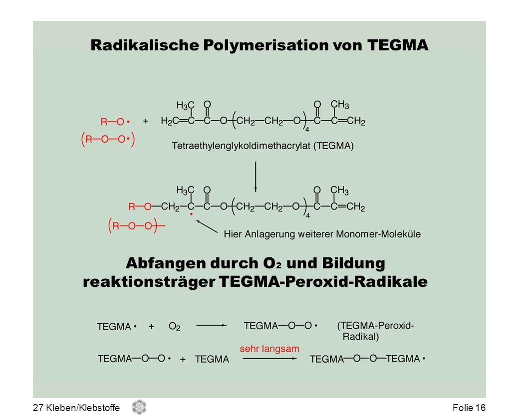 Radikalische Polymerisation von TEGMA Abfangen durch O 2 und Bildung reaktionsträger TEGMA-Peroxid-Radikale 27 Kleben/KlebstoffeFolie 16