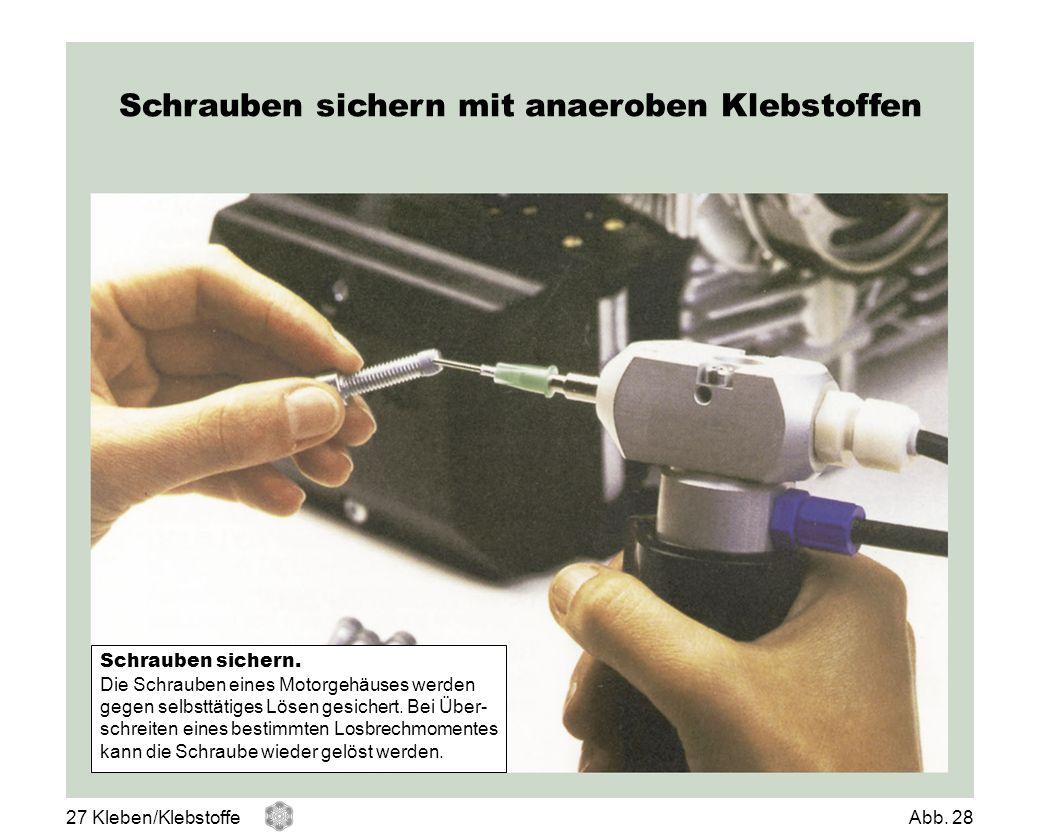 Schrauben sichern mit anaeroben Klebstoffen Schrauben sichern. Die Schrauben eines Motorgehäuses werden gegen selbsttätiges Lösen gesichert. Bei Über-