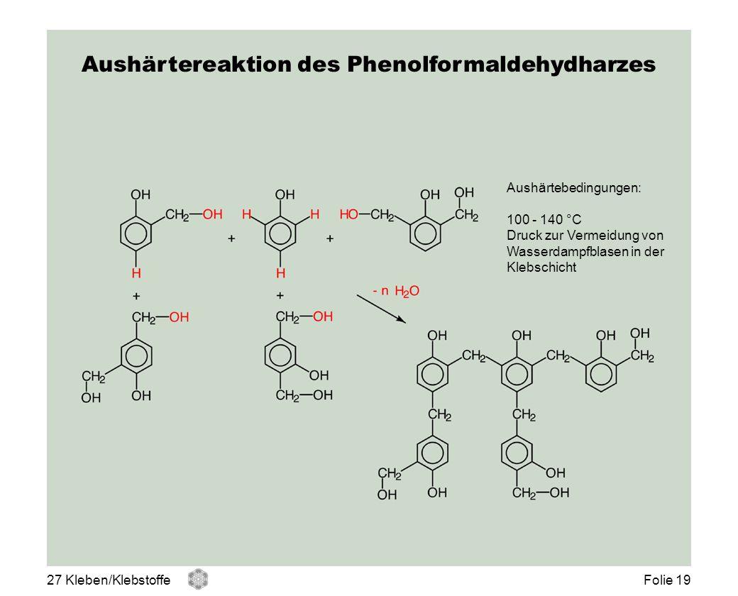 Aushärtereaktion des Phenolformaldehydharzes Aushärtebedingungen: 100 - 140 °C Druck zur Vermeidung von Wasserdampfblasen in der Klebschicht 27 Kleben
