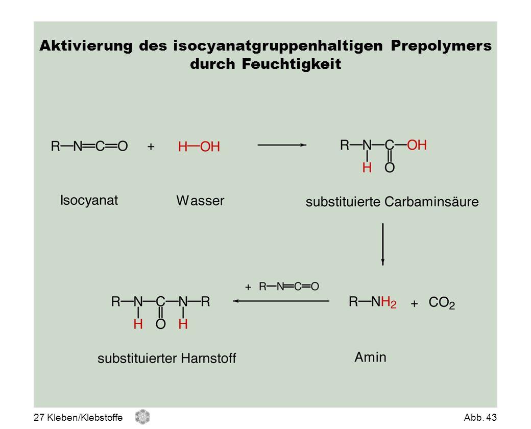 Aktivierung des isocyanatgruppenhaltigen Prepolymers durch Feuchtigkeit 27 Kleben/KlebstoffeAbb. 43