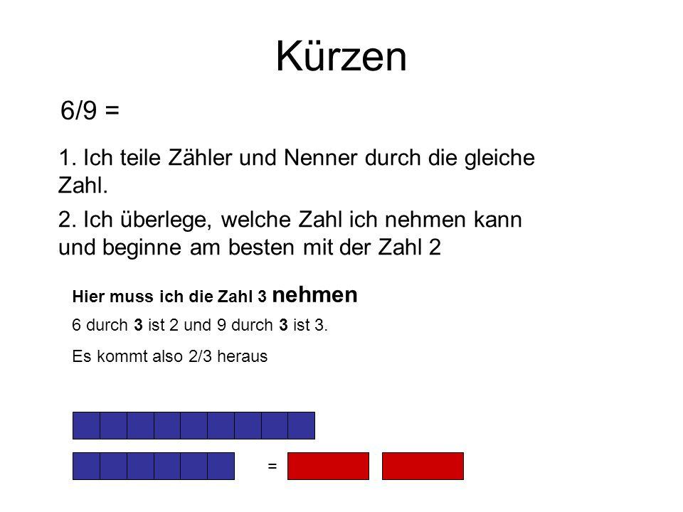6/9 = Kürzen 1. Ich teile Zähler und Nenner durch die gleiche Zahl.