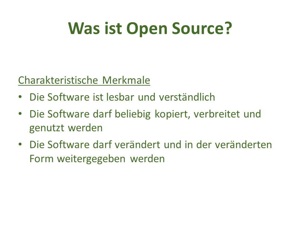 Die Open Source Initiative (OSI) Gründung: 1998 durch Eric Raymond und Bruce Perens Zweck: Nachhaltige Repräsentation der Open Source Gemeinde sowie die Verwaltung der Open Source Definition