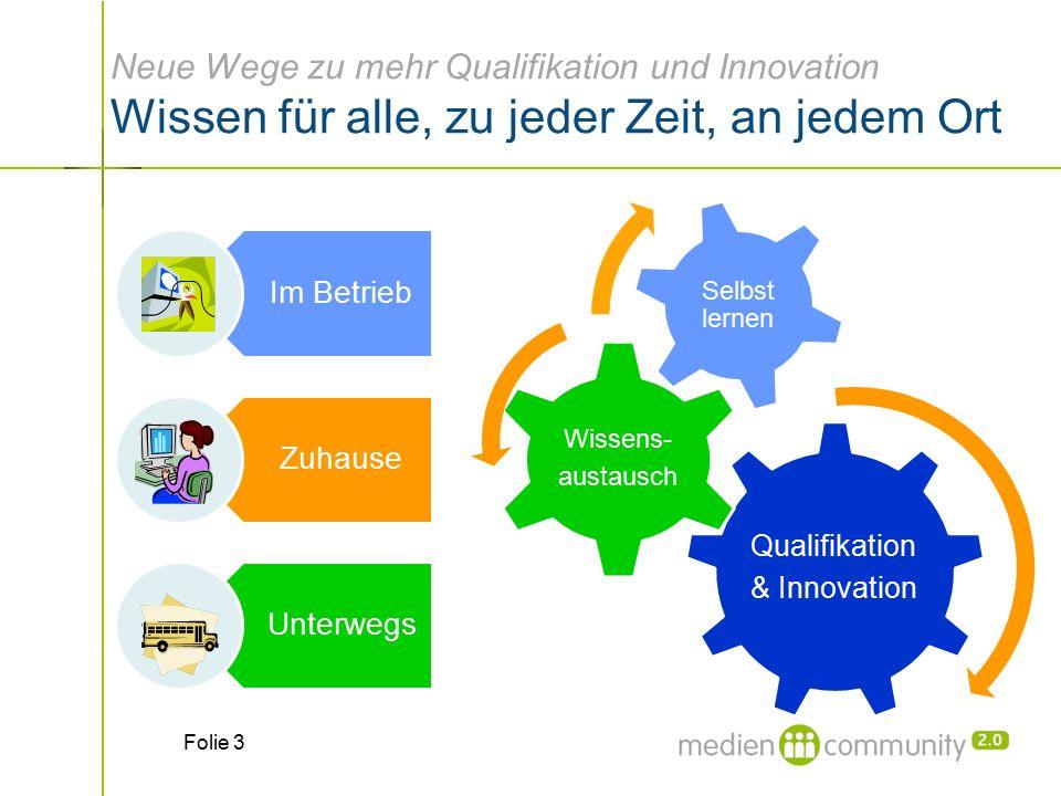 Neue Wege zu mehr Qualifikation und Innovation Wissen für alle, zu jeder Zeit, an jedem Ort Qualifikation & Innovation Wissens- austausch Selbst lernen Folie 3
