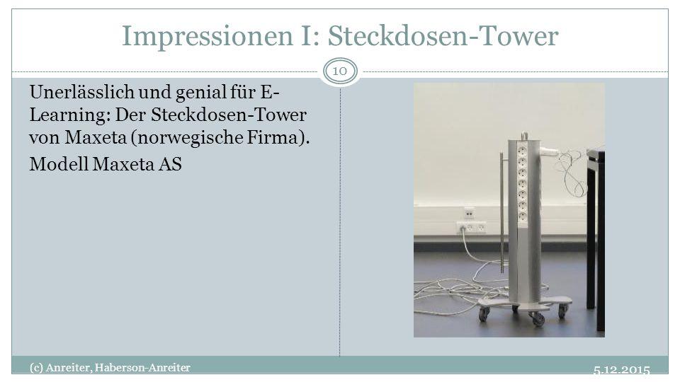 Impressionen I: Steckdosen-Tower 5.12.2015 (c) Anreiter, Haberson-Anreiter 10 Unerlässlich und genial für E- Learning: Der Steckdosen-Tower von Maxeta (norwegische Firma).