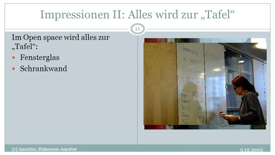 """Impressionen II: Alles wird zur """"Tafel"""" 5.12.2015 (c) Anreiter, Haberson-Anreiter 11 Im Open space wird alles zur """"Tafel"""": Fensterglas Schrankwand"""