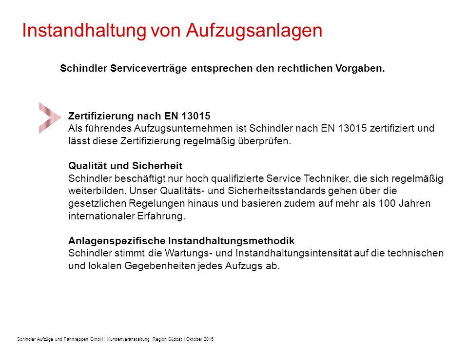 Instandhaltung von Aufzugsanlagen Schindler Serviceverträge entsprechen den rechtlichen Vorgaben.