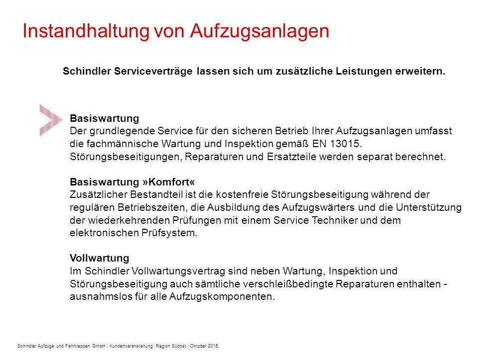 Instandhaltung von Aufzugsanlagen Schindler Serviceverträge lassen sich um zusätzliche Leistungen erweitern.