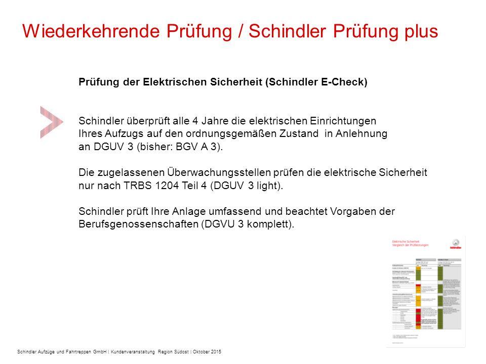 Prüfung der Elektrischen Sicherheit (Schindler E-Check) Schindler überprüft alle 4 Jahre die elektrischen Einrichtungen Ihres Aufzugs auf den ordnungsgemäßen Zustand in Anlehnung an DGUV 3 (bisher: BGV A 3).