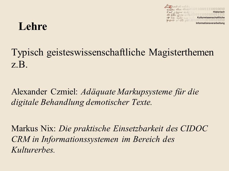 Typisch geisteswissenschaftliche Magisterthemen z.B.
