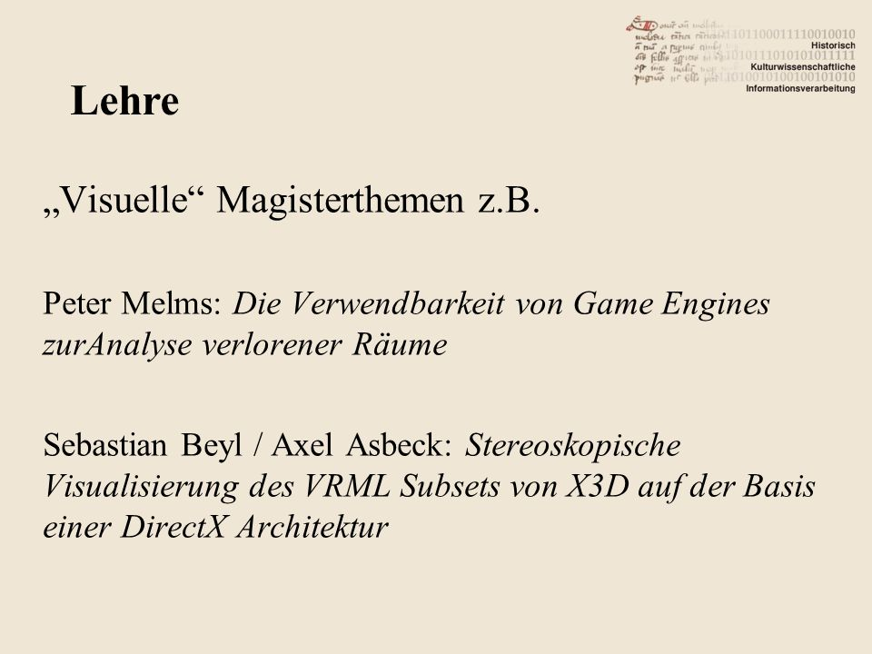 """Visuelle Magisterthemen z.B."
