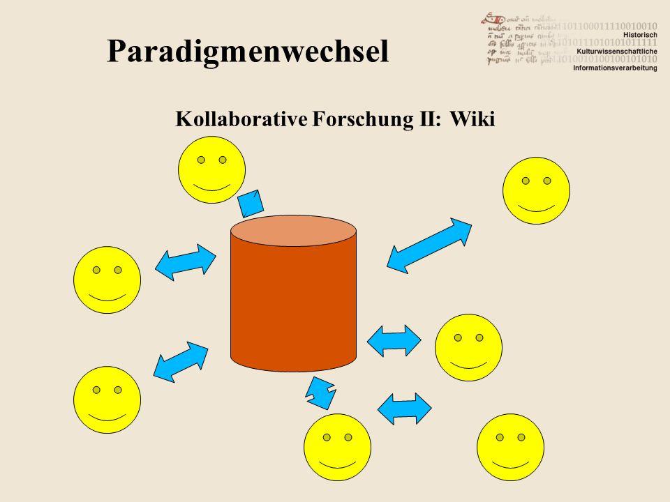Paradigmenwechsel Kollaborative Forschung II: Wiki