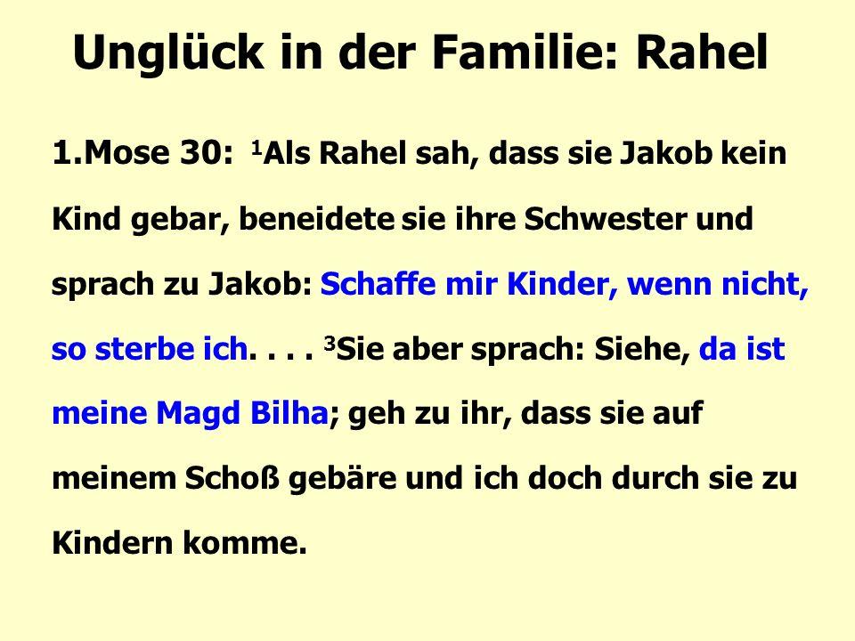 Unglück in der Familie: Rahel 1.Mose 30: 1 Als Rahel sah, dass sie Jakob kein Kind gebar, beneidete sie ihre Schwester und sprach zu Jakob: Schaffe mi