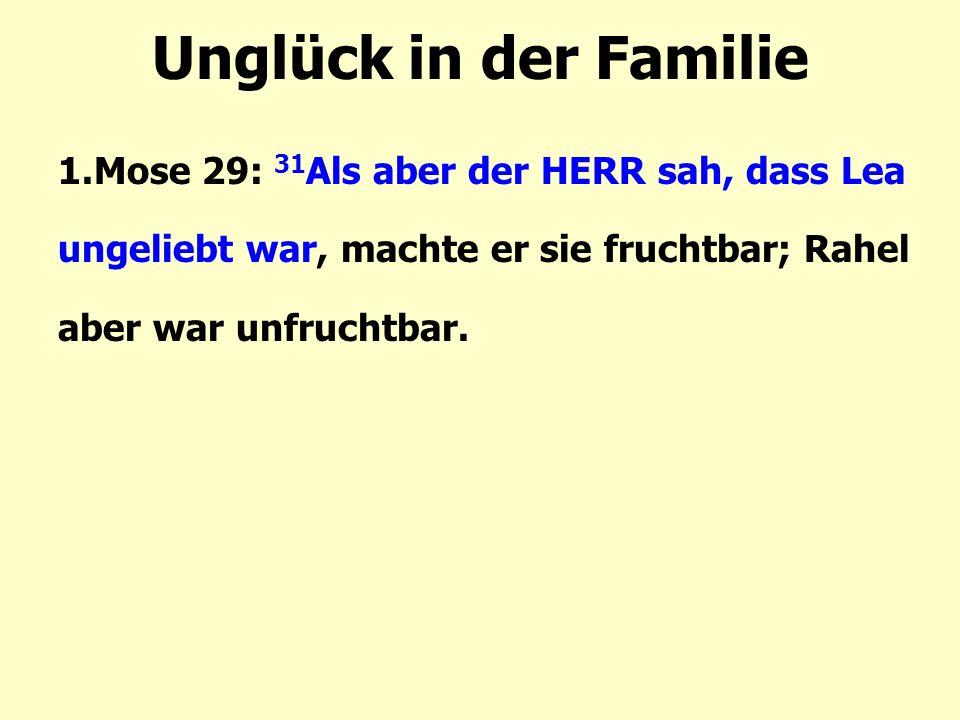Unglück in der Familie 1.Mose 29: 31 Als aber der HERR sah, dass Lea ungeliebt war, machte er sie fruchtbar; Rahel aber war unfruchtbar.