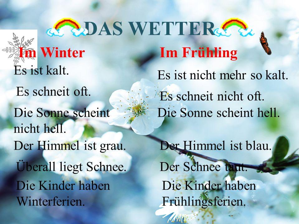 DAS WETTER Im Winter Es ist kalt. Es ist nicht mehr so kalt.