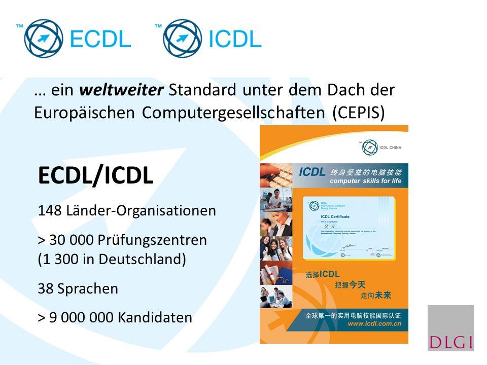… ein weltweiter Standard unter dem Dach der Europäischen Computergesellschaften (CEPIS) ECDL/ICDL 148 Länder-Organisationen > 30 000 Prüfungszentren (1 300 in Deutschland) 38 Sprachen > 9 000 000 Kandidaten